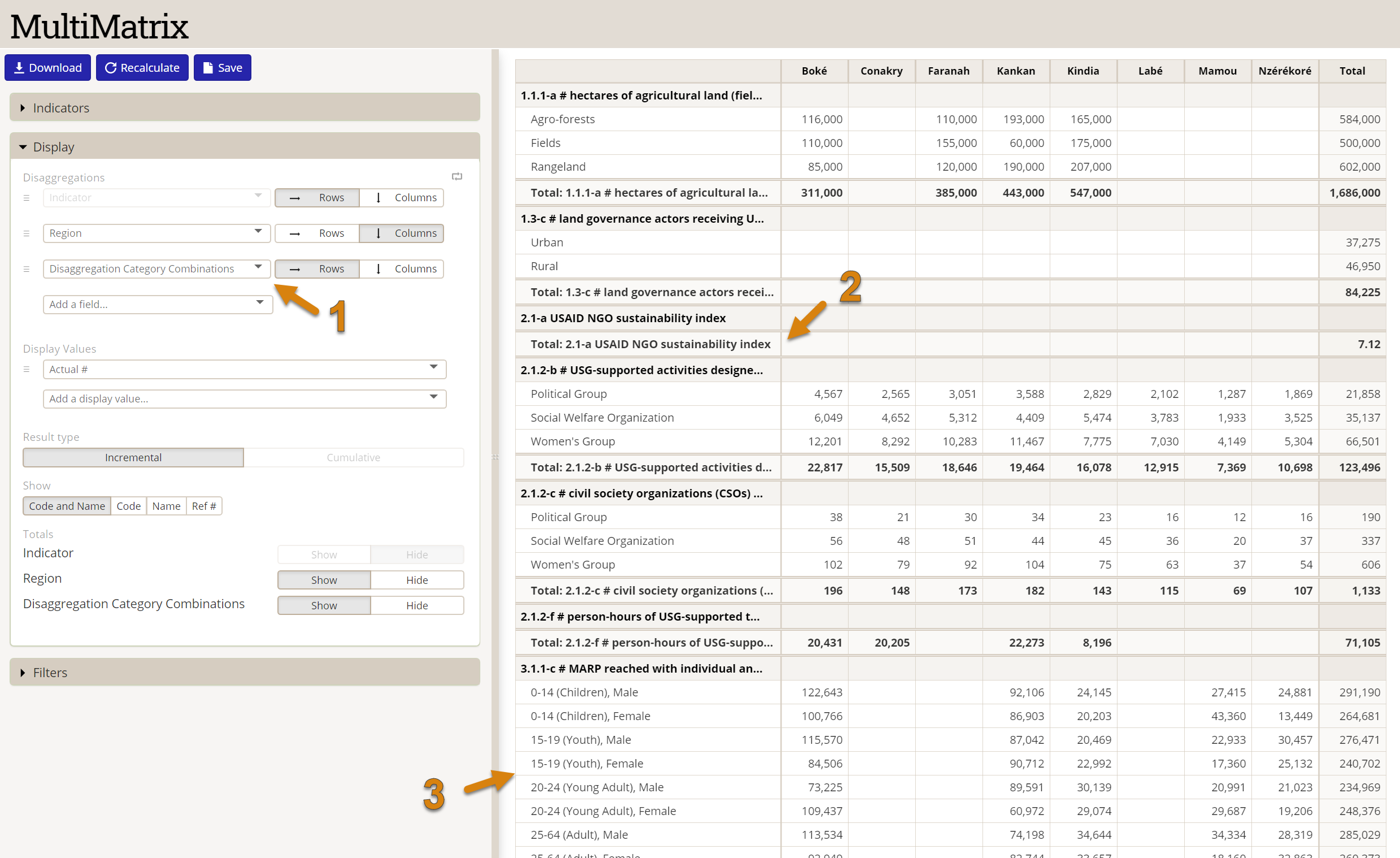 Screenshot showing Disaggregation Category Combination in action